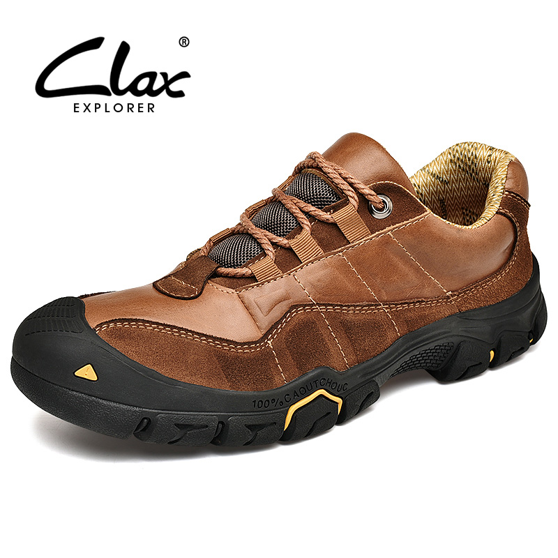 CLAX Mens Work Boots Genuine Leather Spring Autumn Safety Shoes Male Casual Leather Shoe Ankle Boots Walking Footwear Plus Size