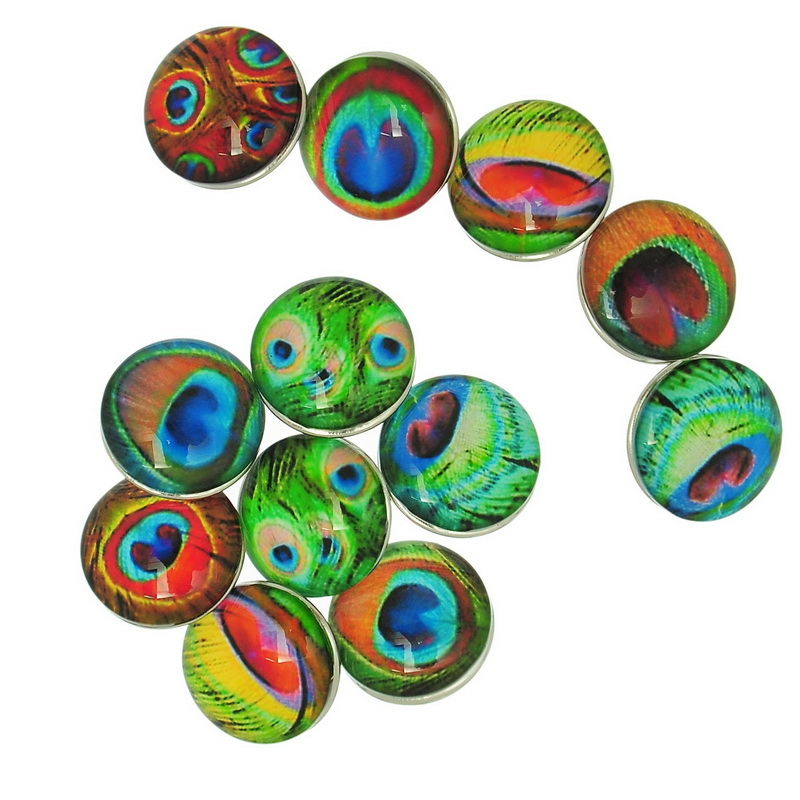 10Pcs Mixed Multicolor Peacock Feather Pattern Round Glass Snap Press Buttons Click Buttons Crafts Making 18mm image