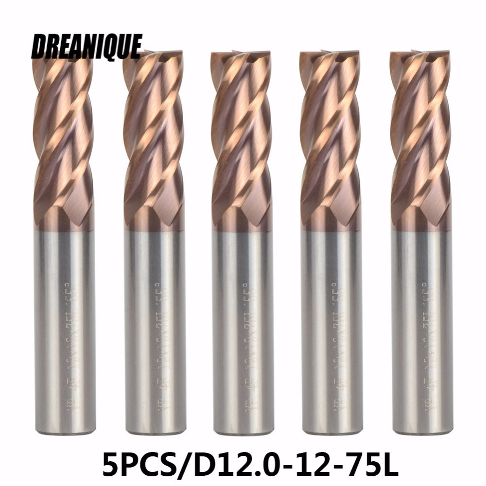 5pcs lot D12 12 75 End mills TiALN Coated Tools Tungsten Steel End Mills Cutting Tools