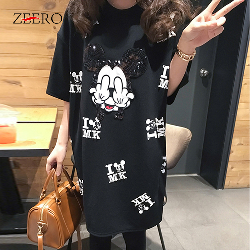 Cartoon Mouse Runway T Shirt Short Sleeve Casual Cartoon Mouse Print Women T Shirt Femme Tops Oversize  Black T-Shirt XL-5XL