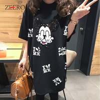 Cartoon Mouse Runway T Shirt Short Sleeve Casual Cartoon Mouse Print Women T Shirt Femme Tops Oversize Black T Shirt XL 5XL
