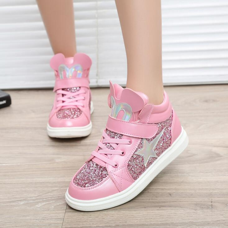 New Autumn Girls Shoes Pu Leather Ankle Boots Sequins Cartoon Warm Short Children's Shoes Flat Kids Fashion Shoes Pink Gold
