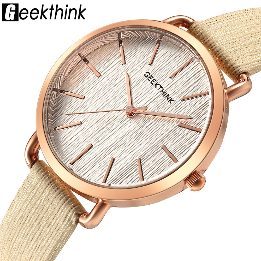 GEEKTHINK New Designer Women Quartz Analog watch Leather fashion ladies Dress Casual WristWatch Female Girls Gold clock relogio kimio new fashion leather strap women quartz casual bracelet watch clock female ladies girl dress wristwatch relogio and box