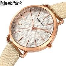 GEEKTHINK Nuevo Diseñador de Las Mujeres de Cuarzo Analógico reloj de señoras de la manera Vestido Reloj Casual Mujer Niñas de Cuero de Oro reloj del relogio