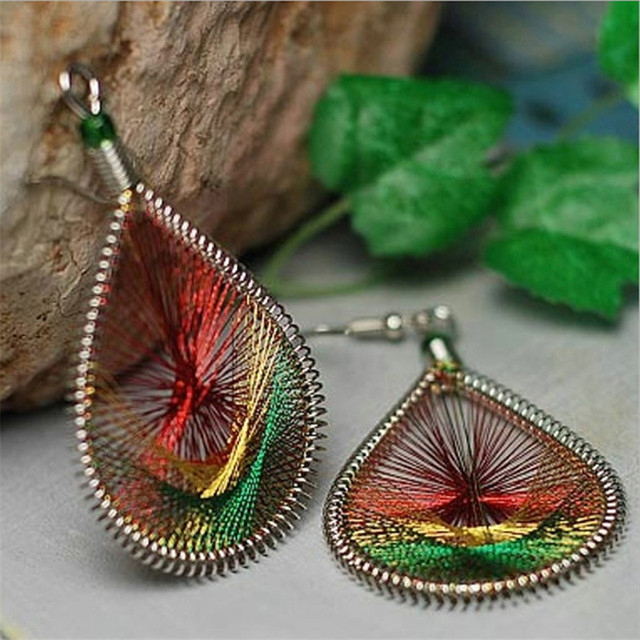Gold Color Peacock Tail Thread Hypoallergenic Earrings