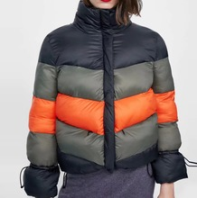 Park Women Winter Warm Thick Coat Stripe Splicing Thickening Easy patchwork female jackets ladies jacket woman chaqueta mujer