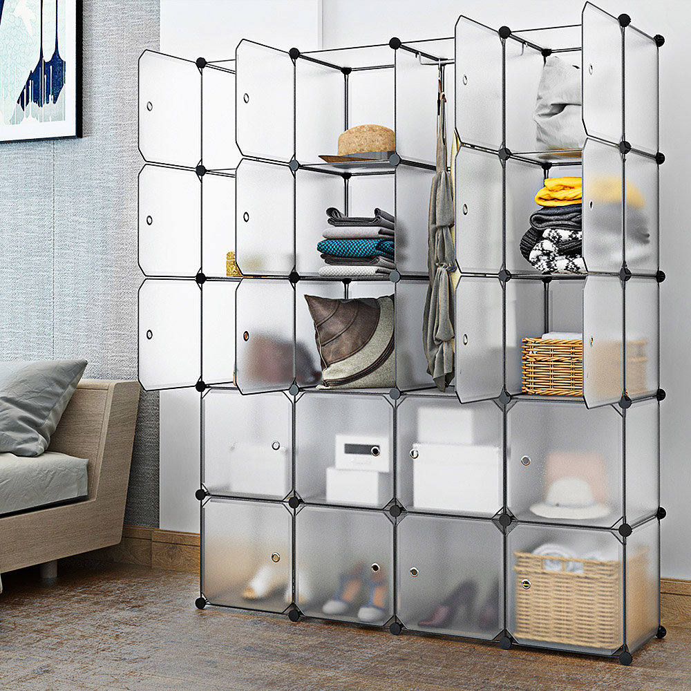 20 cube interlocking modular wardrobes clothes storage organizer closet with doors for bedroom clothes shoes toys storage