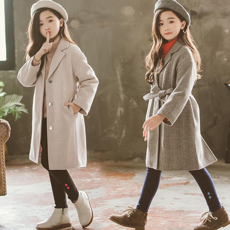 Korean Style Girls Wool Coat For Teenage Girls Outerwear Coat Kids Clothes Winter Thick Belt Woolen Coat RT564