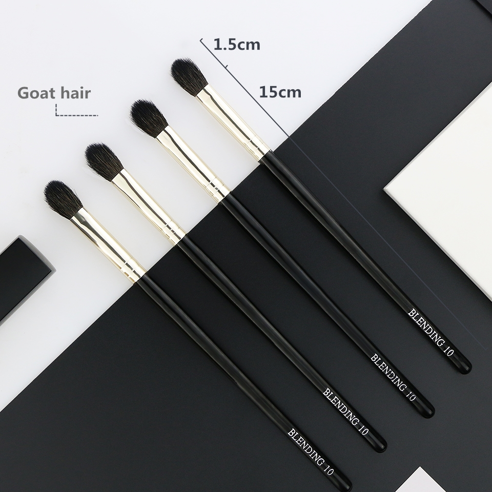 BEILI 1 Piece Goat Hair Precise blending Eye shadow Detailed small shade Single Makeup Brushes Black handle Silver ferrule 10