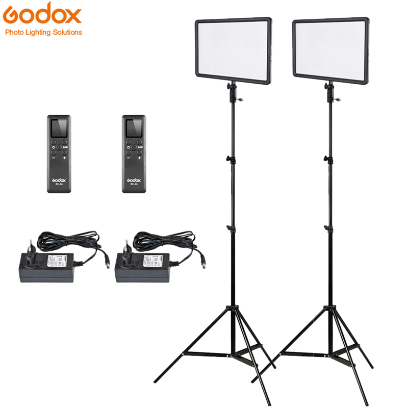 2x Godox Ultra Slim LEDP260C 256pcs LED Video Light Panel Lighting Kit 2m Stand Controller 30W