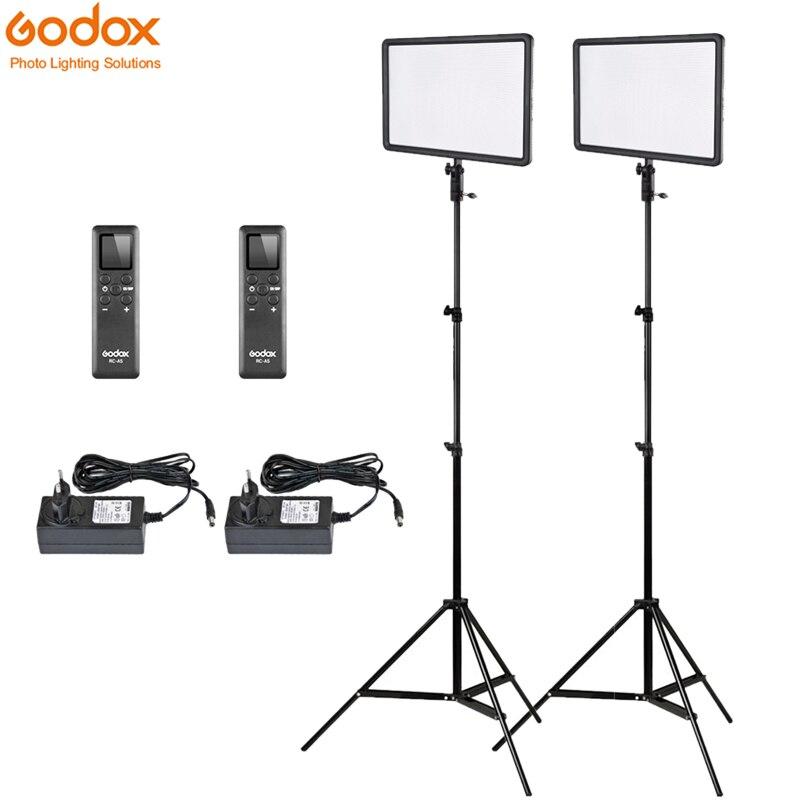 2x Godox Ultra Slim LEDP260C 256pcs LED Video Light Panel Lighting Kit +2m Stand + Controller 30W 3300 5600K Dimmable BrightnessPhotographic Lighting   -