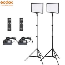 2x Godox Ultra Slim LEDP260C 256pcs LED Video Light Panel Lighting Kit +2m Stand + Controller 30W 3300 5600K Dimmable Brightness