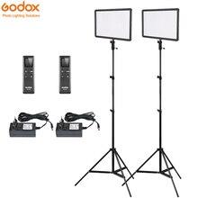2x Godox Ultra ince LEDP260C 256 adet LED Video ışık paneli aydınlatma kiti + 2m standı + denetleyici 30W 3300 5600K kısılabilir parlaklık