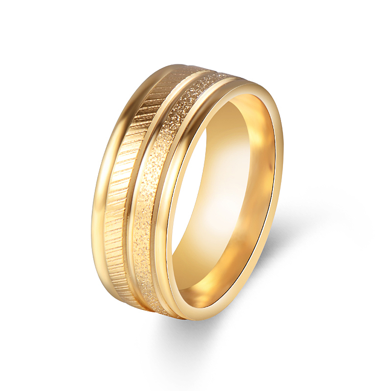 mens womens stainless steel ring band yellow gold color scrub wide 8mm