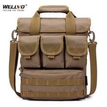 Men Molle Handbag Camouflage Canvas Crossbody Shoulder Bag Multifunctional Army Large Briefcase Travel Business Bag XA73ZC