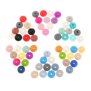 Image 4 - Whosale 12mm Lentils Silicone Round Teething Beads 300PC Abacus Spacing Bead Bpa Free Baby Teether Necklace Pendant Toy DIY