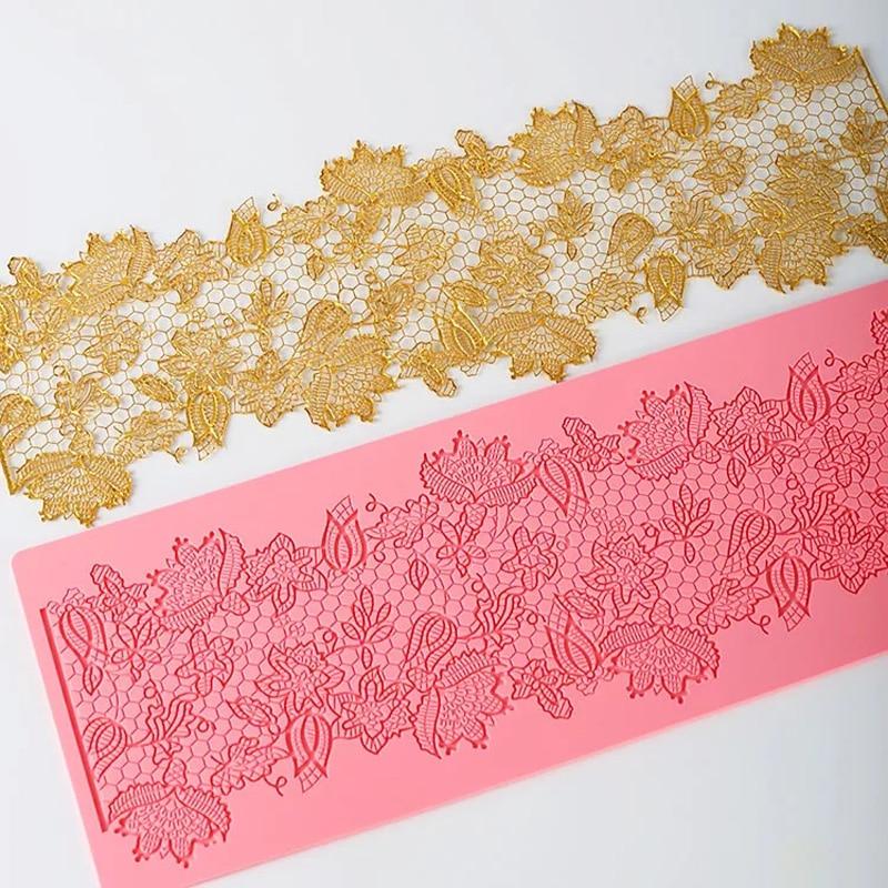 MX132 квітковий візерунок мережива цвіль силіконовий цукор кружева площадку торт кордону прикраси цвіль кухонний посуд DIY інструмент