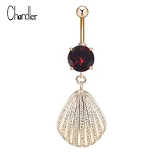 Fashion Sea Shell Dangle 316L Stainless Steel Cubic Zircon Navel Belly Button Ring Bars Piercing Jewelry 2017 Sex Homme Bijoux