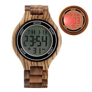 Image 2 - Montres rétro pour hommes, montre bracelet électronique en bois débène, fait à la main, en cuir, boisé Sport, horloge de luxe, LED