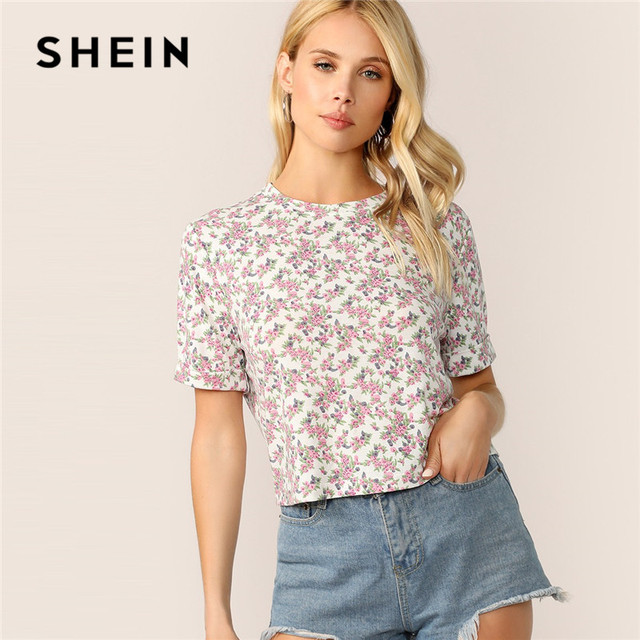 32bc61c500 SHEIN Roll-Up Cuff Ditsy Floral T Shirt Women Summer Casual Short Sleeve  Round Neck Crop Top Ladies Streetwear Cute Tshirt
