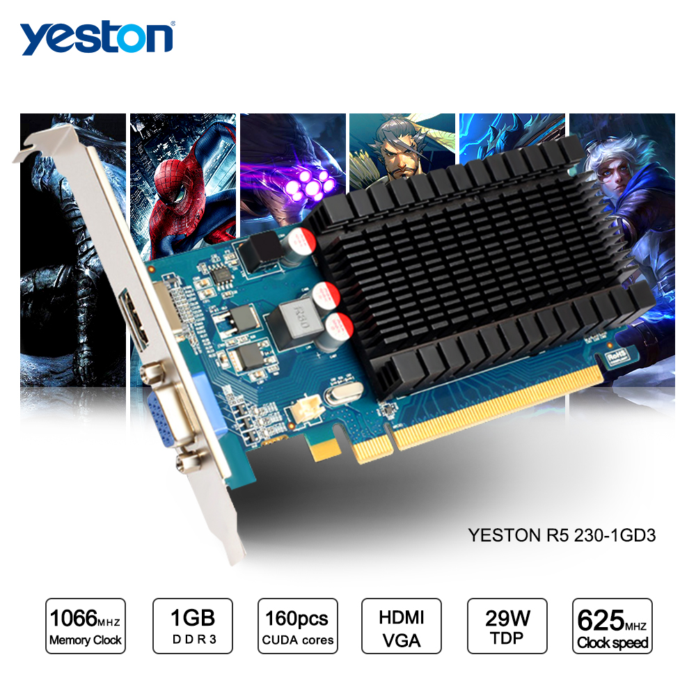 Yeston Radeon R5 230 GPU 1GB GDDR3 64 bit Gaming Desktop computer PC Video Graphics Cards