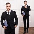 (Куртки + Жилет + Брюки) Новый Мужские Костюмы Тонкий специальной установки Смокинг Модного Бренда Bridegroon Бизнес Свадебное Платье черный костюмы Блейзер