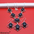 hermosa jewelry High-end fashion charming 925 silver lapis lazuli necklace Earring Sets HF48