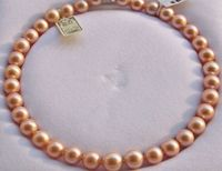 AAAAA 1711 10mm round REAL NATURAL south sea GOLD PINK pearl necklace 14K gold