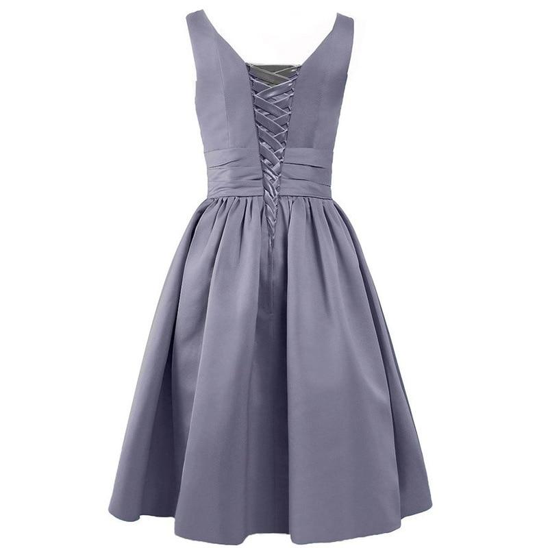Walk Beside You Green Bridesmaid Dresses Purple Short A-line V-neck Satin Elegant Dress Robe Demoiselle D'honneur Pour Femme