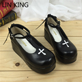 LIN KING Sexy Solid Ankle Straps Women Pumps Summer T-strap Lolita Shoes Platform Thick Sole Wedge Heels Princess Cosplay Shoes