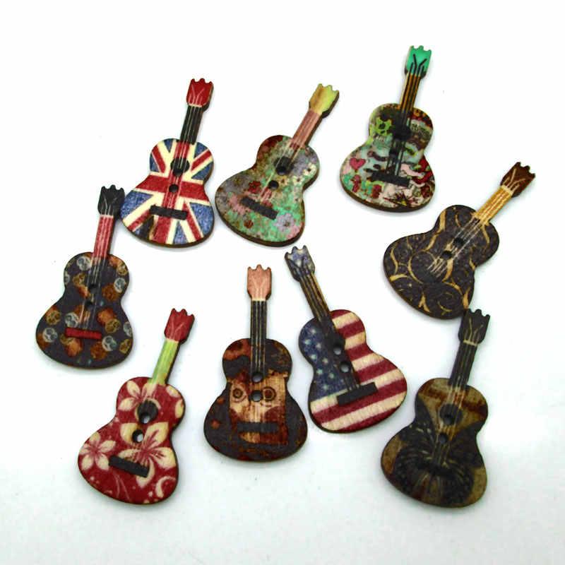 50pc mieszane gitara szycia drewniane guziki na ubrania szydełka rzemiosła Scrapbooking diy akcesoria do tkanin robótek ręcznych