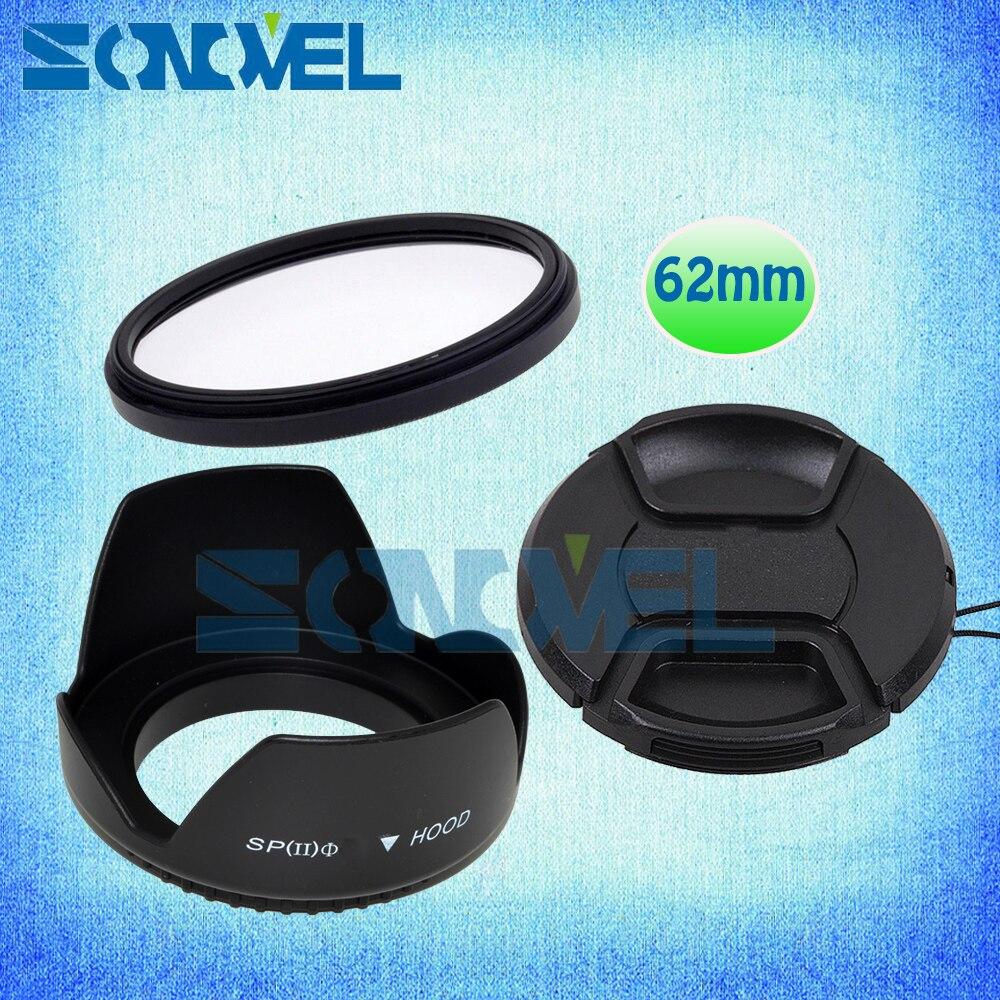 62mm Filtre UV + Bouchon D'objectif + Pare-soleil Fleur Pour Fuji Fujifilm X-E2 X-E1 X-Pro1/2 X-M1 X-A2 X-A1 X-T1 X100T et Fuji XF 56mm f/1.2 R