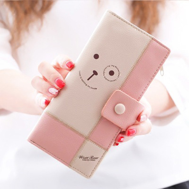 Leather Wallet New Fashion Cartoon Women Wallet Patchwork Panelled Billeteras Para Mujer Purse Clutch Coin Purse Cart Holder