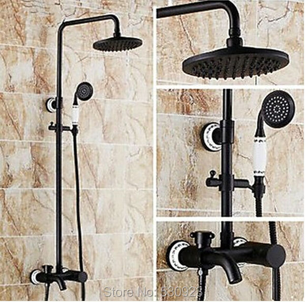 US Free Shipping Soild Brass Shower Set Faucet Oil Rubbed Bronze Wall Mounted Shower Head+Handheld Shower Mixer Tap
