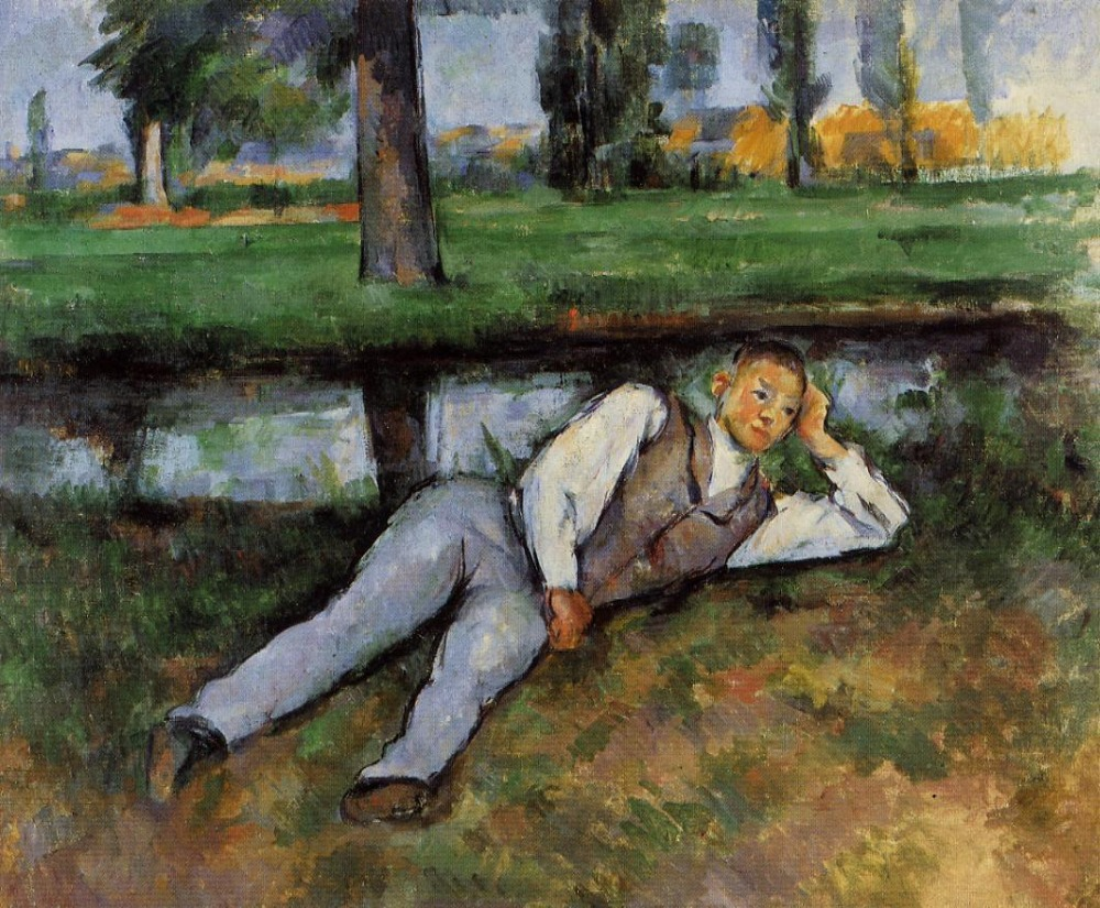 oil paintings,Handmade Oil Painting Reproduction on linen canvas,boy-resting-1890 BY paul Cezanne,landscape oil paintingoil paintings,Handmade Oil Painting Reproduction on linen canvas,boy-resting-1890 BY paul Cezanne,landscape oil painting