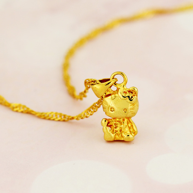 Hello Kitty Pendant ALP Free Shipping Hello kitty copper plating 24K gold necklace female short  design married birthday gift loving cat girl small