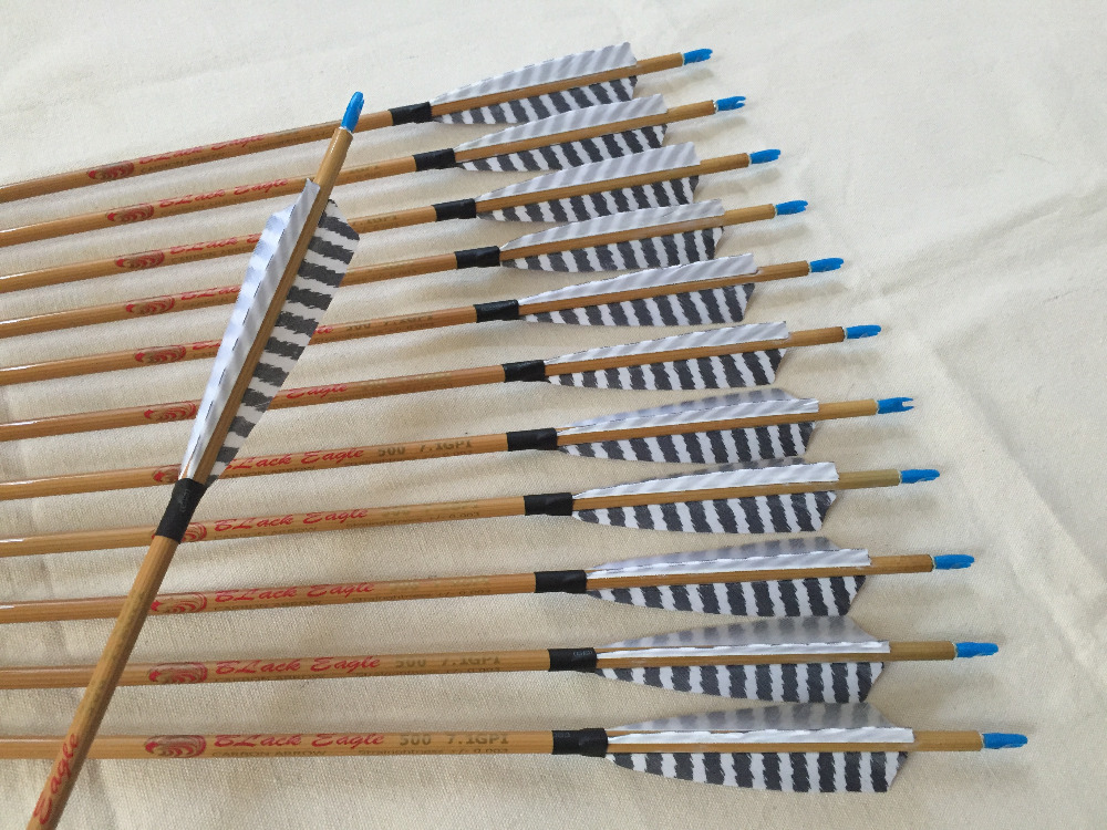Bamboo skin Carbon arrow ID6 2mm Spine500 with 5 Turkey feather fletching and pin Nock Bushing