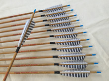 Bamboo skin Carbon arrow ID6.2mm Spine500 with 5″ Turkey feather fletching and pin Nock Bushing for traditional bow archery