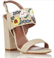 Luxury Embroidery Women Canvas Sandals Open Toe Ladies High Heel Sandals Braided Straw Wedge Heel Female