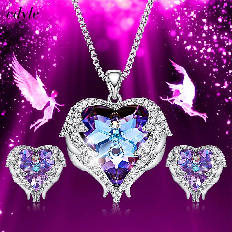 Cdyle кристаллами от Swarovski Крылья ангела ожерелья для мужчин серьги фиолетовый синий кристалл сердце кулон комплект ювелирных изделий для жен...