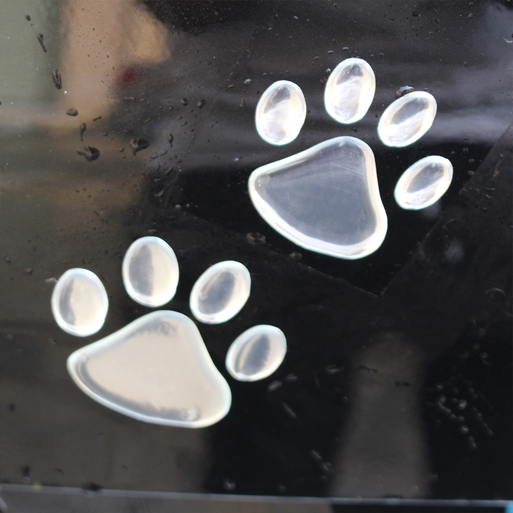 Silver Bear Paw Pet Animal Footprint Emblem Car Truck Decor 3D Sticker Decal Top