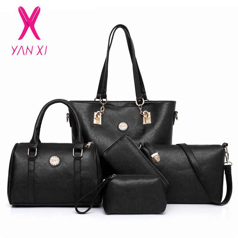 b2c39d0fba Female Mother Bag 5 Piece Set 2019 Luxury Handbags Women Bags Designer  Leather Shoulder Bag Purses