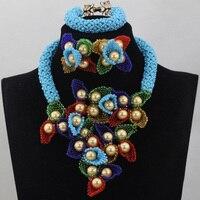 Gorgeous Blue African Beads Necklace Set Women Nigerian Flower Pendant Bride Wedding Jewelry Set Free Shipping QW266
