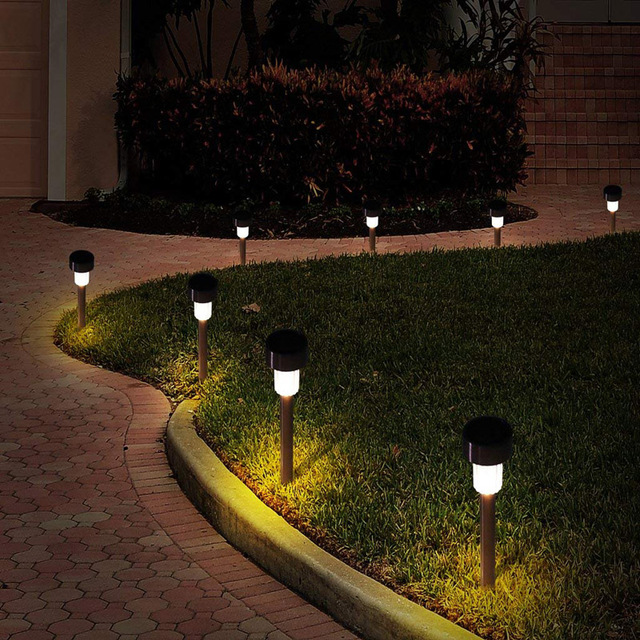 10 Pcs Energy Stainless Steel Solar Lamp Garden Led Ed Stick Lamps Waterproof Landscape Path