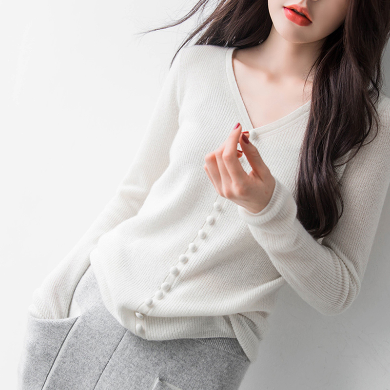 Black red New Slim Cashmere Korean And gray 2018 Women's Color Winter Fashion white Pullover Solid Sweater Autumn 0ORtqZ