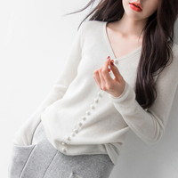 2019 autumn and winter new women's cashmere sweater Slim fashion Korean sweater solid color pullover sweater