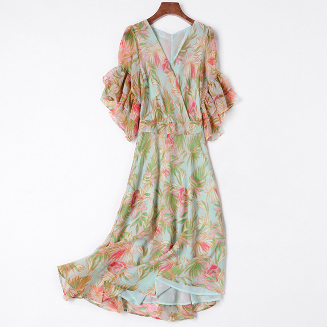 94461074532 2018 summer casual dresses holiday clothes tropical print women chiffon  dress deep v neck ruffle sleeve a line midi dress sale