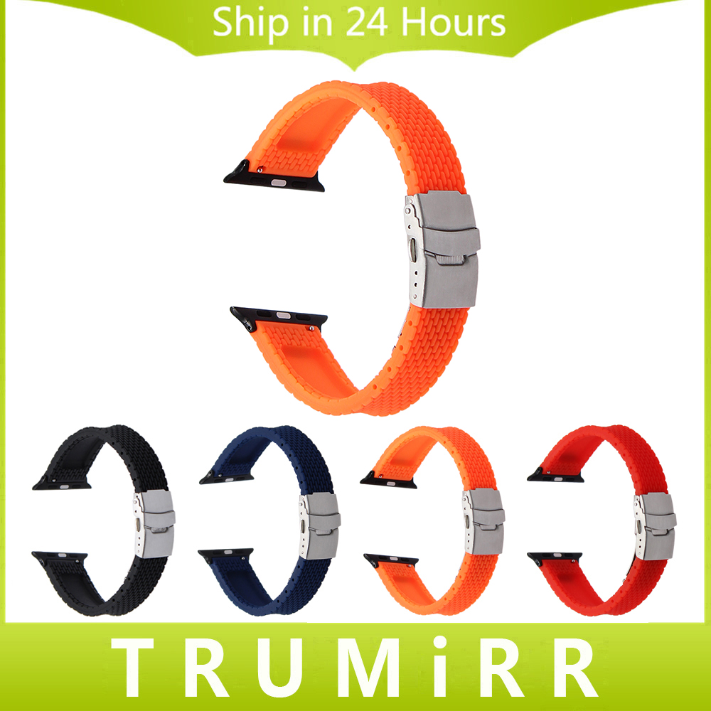 цена Silicone Rubber Watchband Fashion Color Strap for 38mm 42mm iWatch Apple Watch Band Series 1 & 2 Wrist Bracelet Orange Black Red