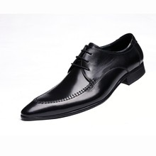 Fashion designer Black oxfords shoes formal mens dress shoes genuine leather business shoes man wedding shoes