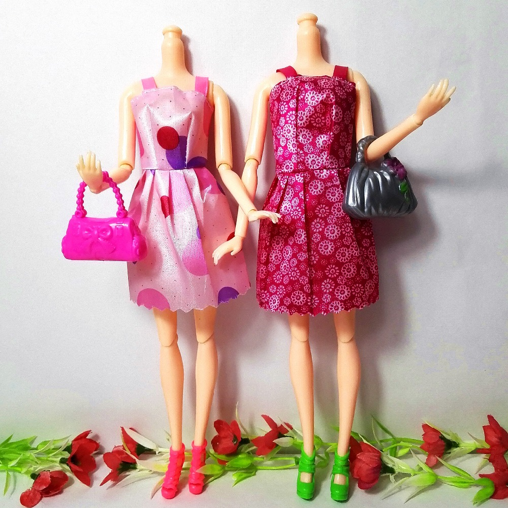 22-Pcs-12Handmade-Mini-Dress-Doll-Clothes-Short-Skirt-5-Doll-Bag-5Accessories-Shoes-Dollhouse-For-Barbie-Doll-Kid-Toy-Gift-4